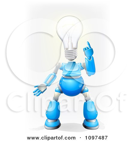 Clipart 3d Blue And Chrome Light Bulb Headed Robot - Royalty Free Vector Illustration by AtStockIllustration
