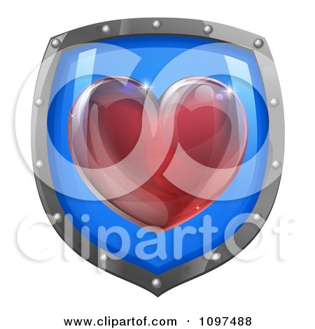Clipart 3d Red Heart On A Blue And Chrome Shield - Royalty Free Vector Illustration by AtStockIllustration