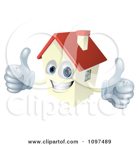 Clipart Happy Smiling House Mascot Holding Two Thumbs Up - Royalty Free Vector Illustration by AtStockIllustration