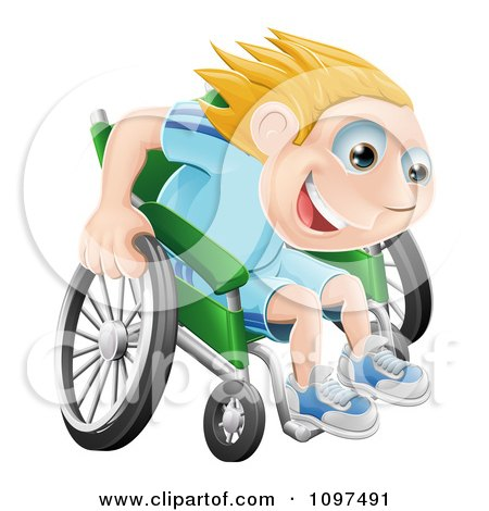 Clipart Happy Blond Boy Racing Fast In His Wheelchair - Royalty Free Vector Illustration by AtStockIllustration