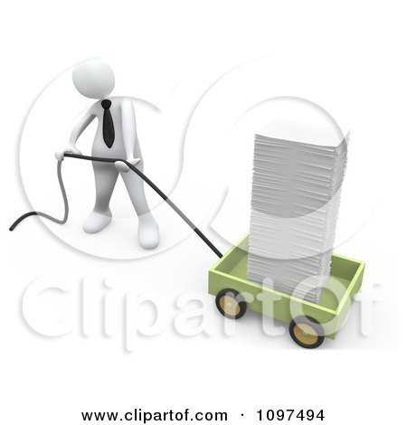 Clipart 3d White Businessman Pulling A Huge Stack Of Paperwork In A Wagon - Royalty Free CGI Illustration by 3poD
