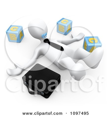Clipart 3d White Businessman On The Floor Sucking On A Pacifier By Letter Blocks And Briefcase - Royalty Free CGI Illustration by 3poD