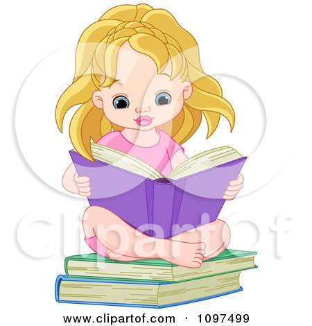 Cute Blond Girl Sitting On Books And Reading Posters, Art Prints