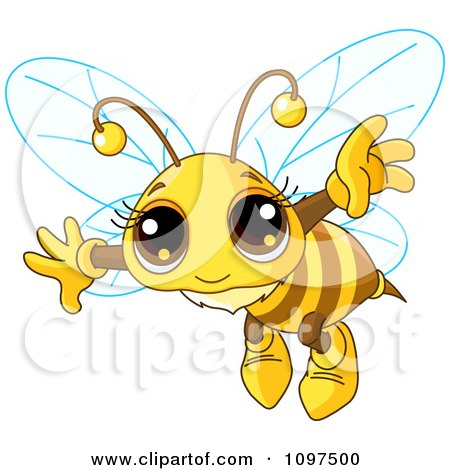 Clipart Really Cute Bee Flying - Royalty Free Vector Illustration by Pushkin