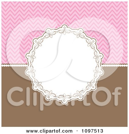 Clipart Decorative Circular Frame Over A Pink Chevron Pattern And Brown - Royalty Free Vector Illustration by KJ Pargeter