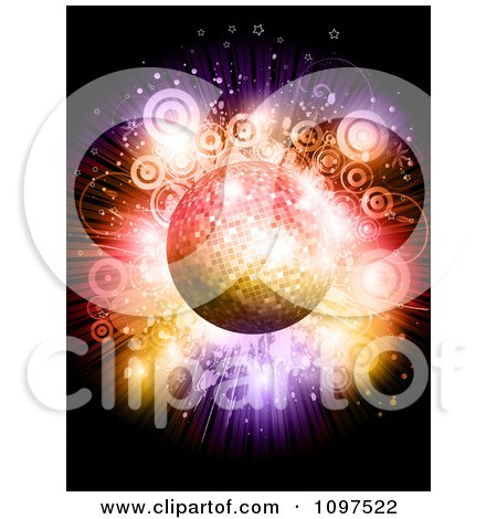 Clipart 3d Sparkly Disco Ball Over A Circle And Star Colorful Burst - Royalty Free Vector Illustration by KJ Pargeter