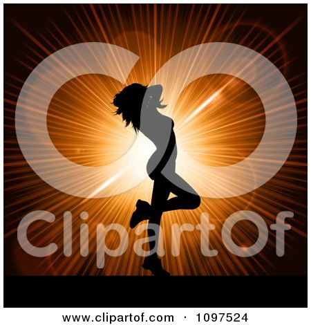Clipart Sexy Silhouetted Woman Dancing Over An Orange Burst - Royalty Free Vector Illustration by KJ Pargeter