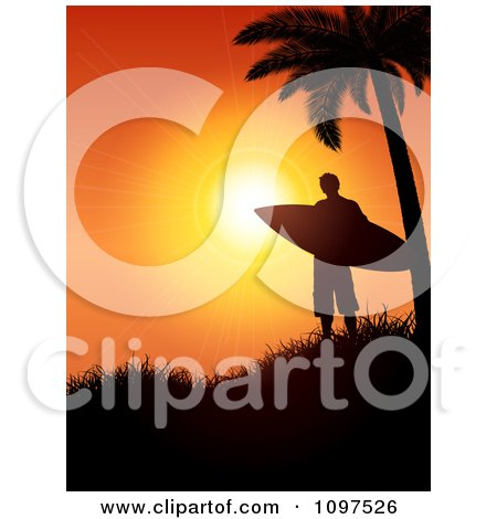Clipart Surfer Under A Palm Tree Silhouetted On A Hill Against An Orange Sunset - Royalty Free Vector Illustration by KJ Pargeter