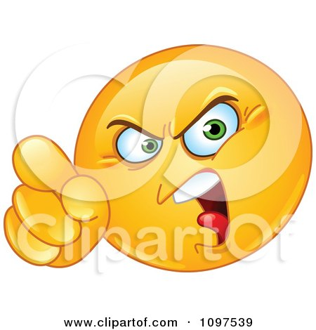 Clipart Angry Emoticon Pointing An Accusatory Finger - Royalty Free Vector Illustration by yayayoyo