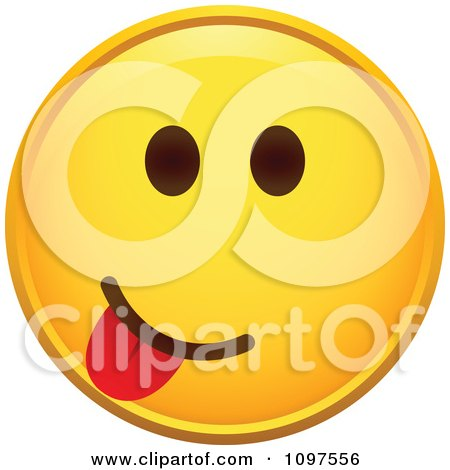 Clipart Yellow Goofy Cartoon Smiley Emoticon Face 2 - Royalty Free Vector Illustration by beboy
