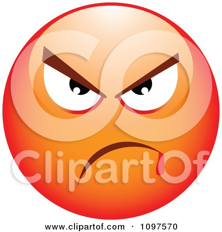 Clipart Red Bully Cartoon Smiley Emoticon Face 3 - Royalty Free Vector Illustration by beboy