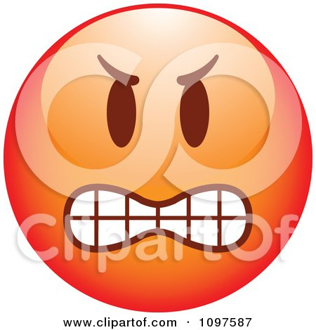 Clipart Red Bully Cartoon Smiley Emoticon Face 1 - Royalty Free Vector Illustration by beboy