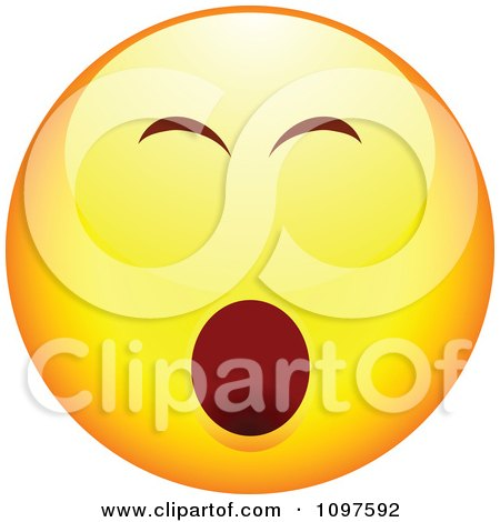Clipart Bored Yawning Yellow Cartoon Smiley Emoticon Face - Royalty Free Vector Illustration by beboy