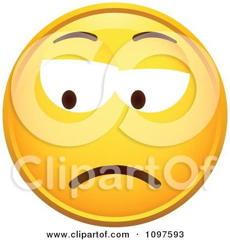 Clipart Yellow Grumpy Cartoon Smiley Emoticon Face 2 - Royalty Free Vector Illustration by beboy
