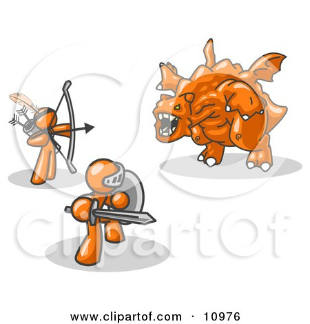 Two Orange Men Working Together to Conquer an Obstacle, a Dragon Clipart Illustration by Leo Blanchette