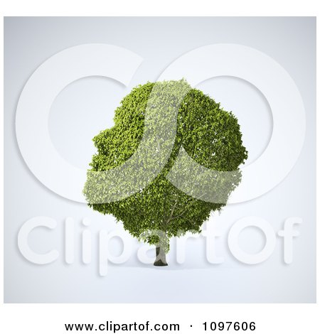 Clipart 3d Green Head Shaped Tree - Royalty Free CGI Illustration by Mopic