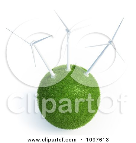 Clipart 3d Grassy Globe With Wind Energy Turbines - Royalty Free CGI Illustration by Mopic