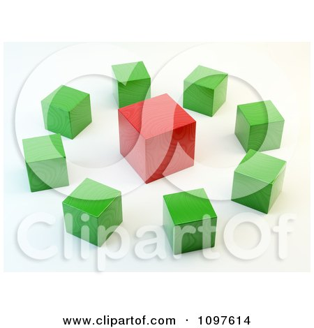 Clipart 3d Green Cubes Around A Red Cube - Royalty Free CGI Illustration by Mopic