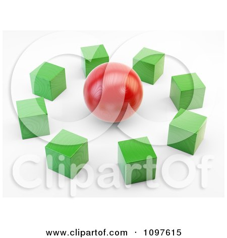 Clipart 3d Green Cubes Around A Red Sphere - Royalty Free CGI Illustration by Mopic
