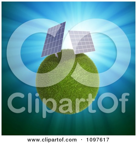 Clipart 3d Grassy Planet With Solar Power Panels - Royalty Free CGI Illustration by Mopic