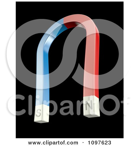 Clipart 3d Blue And Red Magnetic Horse Shoe - Royalty Free CGI Illustration by Mopic