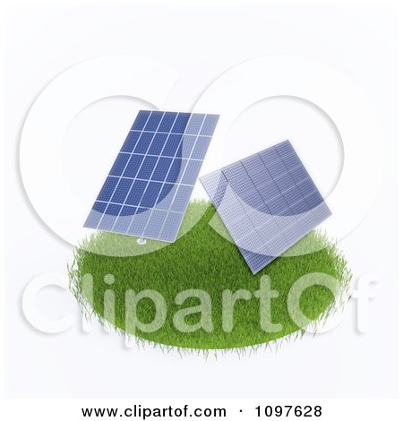 Clipart 3d Photovoltaic Solar Energy Panels On A Grassy Circle - Royalty Free CGI Illustration by Mopic