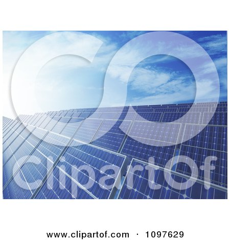 Clipart 3d Blue Photovoltaic Solar Energy Panels Under A Blue Sky - Royalty Free CGI Illustration by Mopic