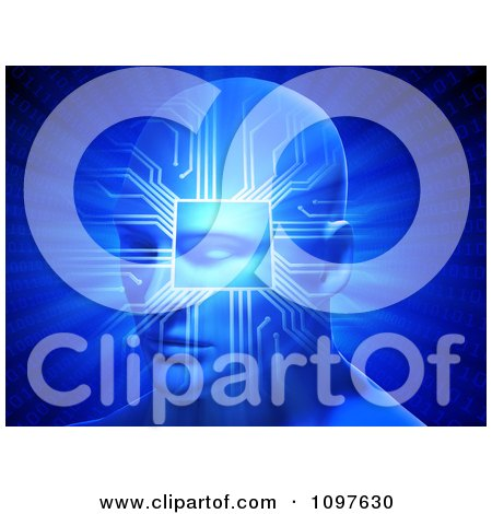 Clipart 3d Artificial Intelligence Head With A Chip And Computer Circuits On Blue - Royalty Free CGI Illustration by Mopic