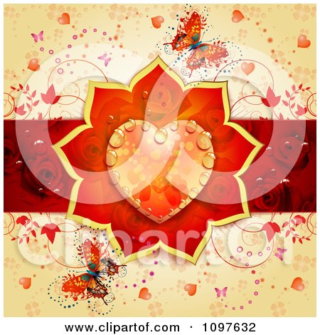 Clipart Wedding Or Valentines Day Background With A Dewy Orange Floral Heart Red Rose Stripe And Butterflies Over Orange - Royalty Free Vector Illustration by merlinul