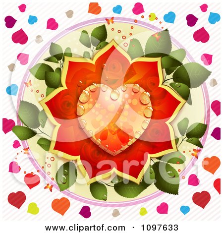 Wedding Or Valentines Day Background With A Dewy Orange And Red Rose Heart