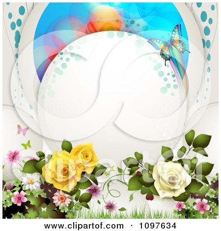 Clipart Spring Time Or Wedding Background Dewy Roses And Butterflies With Copyspace - Royalty Free Vector Illustration by merlinul