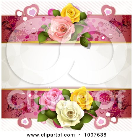 Clipart Wedding Or Valentines Background With Copyspace Bordered By Dewy Roses Hearts And Butterflies - Royalty Free Vector Illustration by merlinul