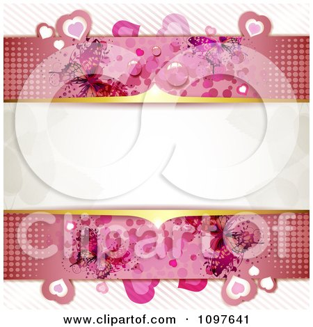 Clipart Pink Wedding Or Valentines Day Background With Dew Hearts Dots And Butterflies And Gold Bars Around Copyspace - Royalty Free Vector Illustration by merlinul