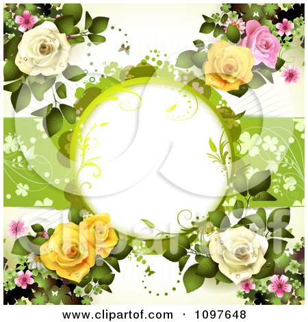 Valentines Day Or Wedding Background With Pink Yellow And White Dewy Roses And Copyspace Posters, Art Prints