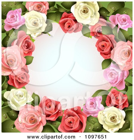 Clipart Valentines Day Or Wedding Background With Pink And White Dewy Roses Encircling Copyspace - Royalty Free Vector Illustration by merlinul