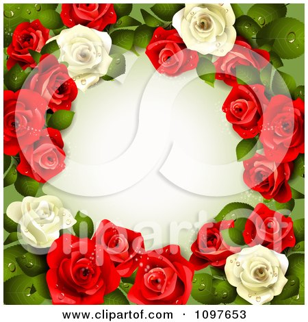 Clipart Valentines Day Or Wedding Background With Red And White Dewy Roses Encircling Copyspace - Royalty Free Vector Illustration by merlinul