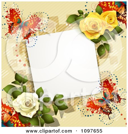 Valentines Day Or Wedding Note With Roses And Butterflies Over Tan 3 Posters, Art Prints