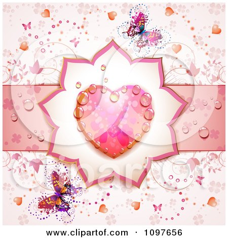 Clipart Wedding Or Valentines Day Background With A Dewy Pink Heart And Butterflies - Royalty Free Vector Illustration by merlinul