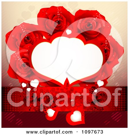 Clipart Copyspace Frame Wedding Or Valentines Background With Hearts Butterflies And Red Roses - Royalty Free Vector Illustration by merlinul