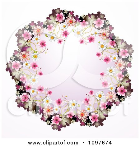 Clipart Wedding Frame Of Pink And White Blossoms - Royalty Free Vector Illustration by merlinul