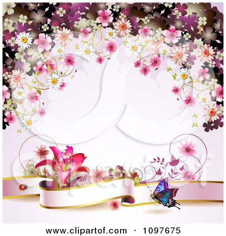 Pink Floral Blossom Wedding Background With A Lily Butterfly And Banner by