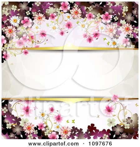 Clipart Pink Floral Blossom Wedding Background With Gold Borders Around Copyspace - Royalty Free Vector Illustration by merlinul