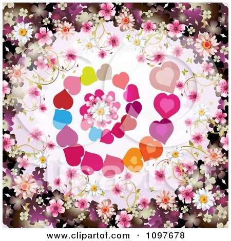 Clipart Wedding Or Valentines Day Background With Blossoms Framing Spiraling Hearts And A Daisy - Royalty Free Vector Illustration by merlinul
