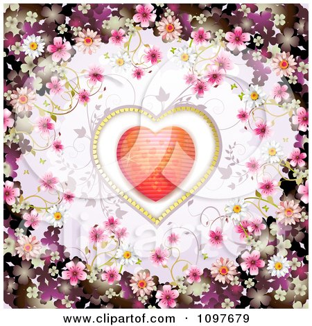 Clipart Wedding Or Valentines Day Background With Blossoms Framing A Sparkly Heart - Royalty Free Vector Illustration by merlinul