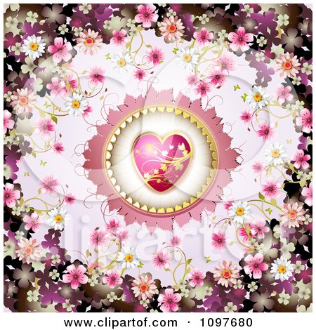 Clipart Wedding Or Valentines Day Background With Blossoms Framing A Pink And Gold Heart - Royalty Free Vector Illustration by merlinul