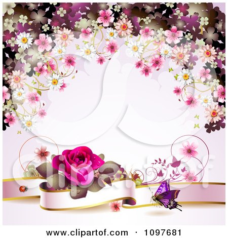 Clipart Valentines Day Or Wedding Background With A Pink Rose Banner Butterfly And Blossoms - Royalty Free Vector Illustration by merlinul