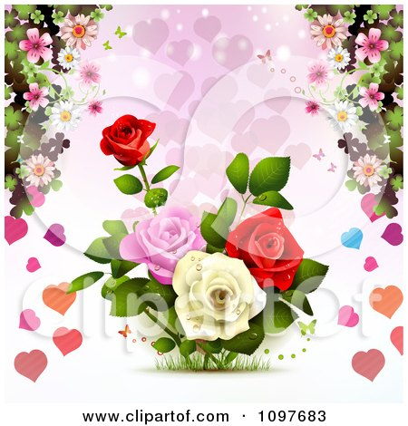 Clipart Valentines Day Or Wedding Background With Roses And Hearts - Royalty Free Vector Illustration by merlinul