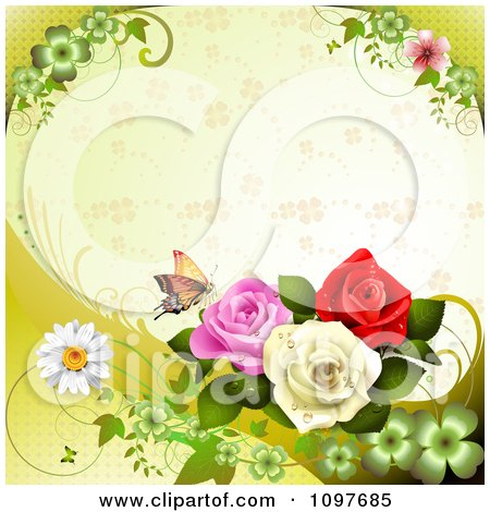 Clipart Spring Time Or Wedding Background With Roses And A Butterfly 1 - Royalty Free Vector Illustration by merlinul