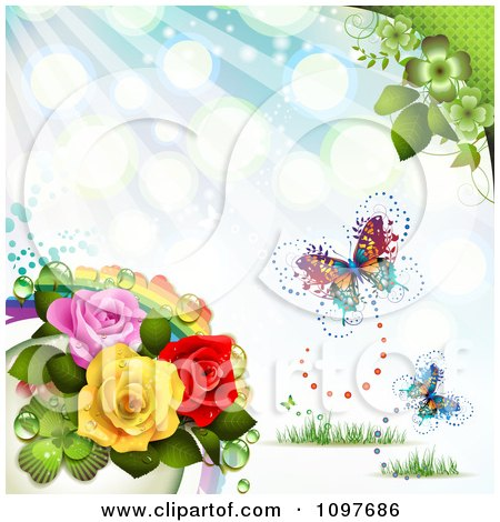 Clipart Spring Time Or Wedding Background With A Rainbow Roses And Butterflies - Royalty Free Vector Illustration by merlinul