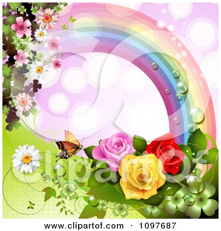 Clipart Wedding Or Valentines Background With Blossoms ...